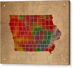 Counties Of Iowa Colorful Vibrant Watercolor State Map On Old Canvas Acrylic Print