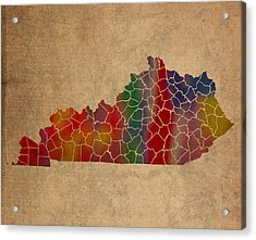 Counties Of Kentucky Colorful Vibrant Watercolor Map On Old Canvas Acrylic Print