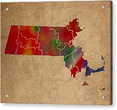 Counties Of Massachusetts Colorful Vibrant Watercolor State Map On Old Canvas Acrylic Print