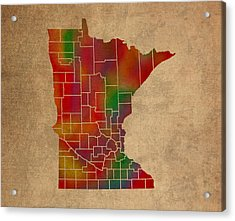 Counties Of Minnesota Colorful Vibrant Watercolor State Map On Old Canvas Acrylic Print