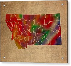 Counties Of Montana Colorful Vibrant Watercolor State Map On Old Canvas Acrylic Print by Design Turnpike