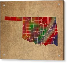 Counties Of Oklahoma Colorful Vibrant Watercolor State Map On Old Canvas Acrylic Print