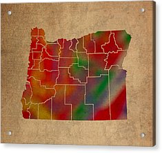 Counties Of Oregon Colorful Vibrant Watercolor State Map On Old Canvas Acrylic Print