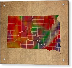 Counties Of South Dakota Colorful Vibrant Watercolor State Map On Old Canvas Acrylic Print by Design Turnpike