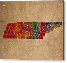 Counties Of Tennessee Colorful Vibrant Watercolor State Map On Old Canvas Acrylic Print by Design Turnpike