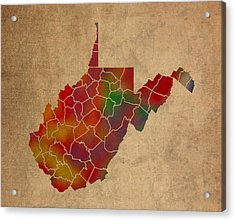 Counties Of West Virginia Colorful Vibrant Watercolor State Map On Old Canvas Acrylic Print
