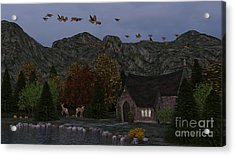 Country Church Autumn At Twilight Acrylic Print by Methune Hively