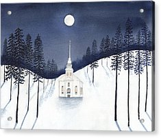 Country Church In Moonlight 2, Silent Night Acrylic Print