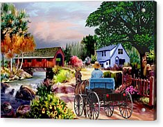 Country Covered Bridge V2 Acrylic Print by Ron Chambers