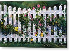 Country Fence Acrylic Print by Valer Ian