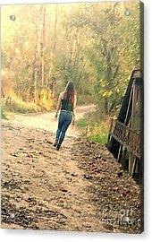Country Girl Walking  Acrylic Print by Scott D Van Osdol