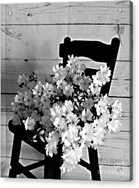 Country Porch In B And W Acrylic Print by Sherry Hallemeier