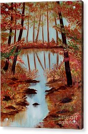 Acrylic Print featuring the painting Country Reflections by Leslie Allen