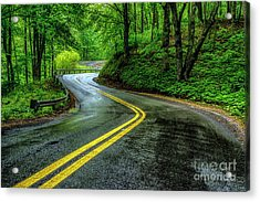 Country Road In Spring Rain Acrylic Print