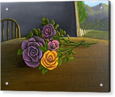 Acrylic Print featuring the painting Country Roses by Sheri Keith
