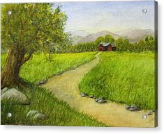 Country Scene - Barn In The Distance Acrylic Print