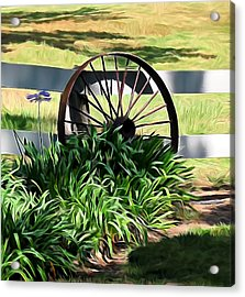Country Wagon Wheel Acrylic Print