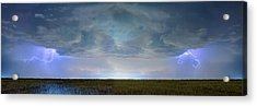 Country Wheat Field Storm Panorama Acrylic Print by James BO Insogna