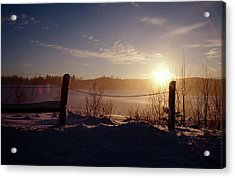 Country Winter Sunset Acrylic Print