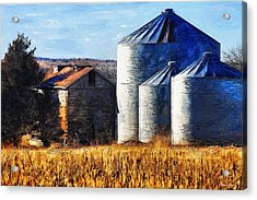 Countryside Old Barn And Silos Acrylic Print