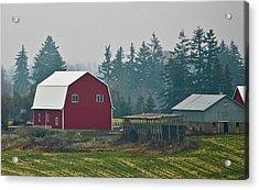 Countryside Red Barn Acrylic Print by Liz Santie