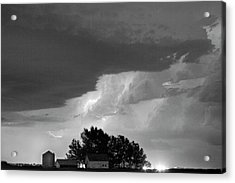 County Line Northern Colorado Lightning Storm Bw Acrylic Print