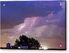 County Line Northern Colorado Lightning Storm Cropped Acrylic Print by James BO  Insogna