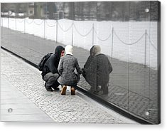 Couple At Vietnam Wall Acrylic Print