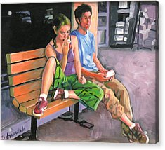 Couple Eating A Snack Acrylic Print by Dominique Amendola