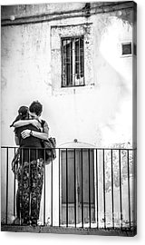 Couple Of Guys Hugging Leaning On A Railing - Black And White With Vignetting Acrylic Print by Luca Lorenzelli