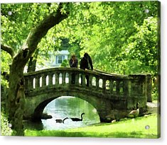 Couple On Bridge In Park Acrylic Print by Susan Savad