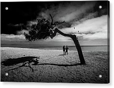 Acrylic Print featuring the photograph Couple On Cabrillo Beach By Los Angeles California by Randall Nyhof