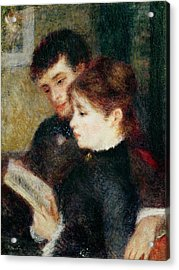 Couple Reading Acrylic Print by Pierre Auguste Renoir
