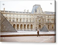 Acrylic Print featuring the photograph Couple Strolling At Louvre Museum  by Ivy Ho