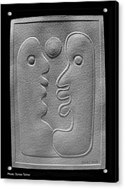 Acrylic Print featuring the relief Couple by Suhas Tavkar