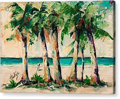 Couple Under Palm Trees Acrylic Print by Mary DuCharme