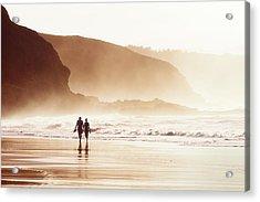 Couple Walking On Beach With Fog Acrylic Print
