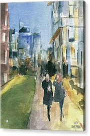 Couple Walking On The New York High Line Acrylic Print