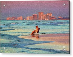 Couple Watching The Sunset Acrylic Print by Jeff Breiman