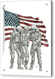 Acrylic Print featuring the drawing Courage In Brotherhood by Betsy Hackett