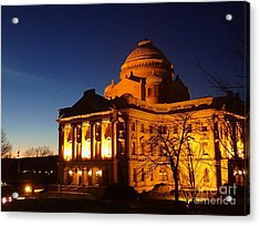 Courthouse At Night Acrylic Print by Christina Verdgeline