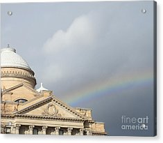 Courthouse Rainbow Acrylic Print by Christina Verdgeline