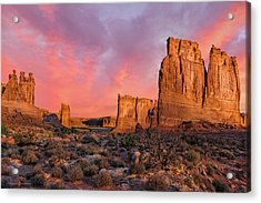 Acrylic Print featuring the photograph Courthouse Towers And Three Gossips by Expressive Landscapes Fine Art Photography by Thom