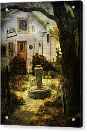Courtyard And Fountain Acrylic Print