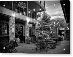 Courtyard In Blue Ridge In Black And White Acrylic Print by Greg Mimbs