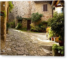 Courtyard In Montefioralle Acrylic Print by Rae Tucker