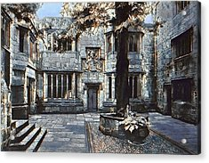 Acrylic Print featuring the digital art Courtyard Of Skipton Castle by Pennie McCracken