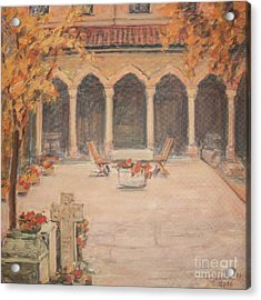Courtyard Of Stravopoleos Church Acrylic Print by Olimpia - Hinamatsuri Barbu