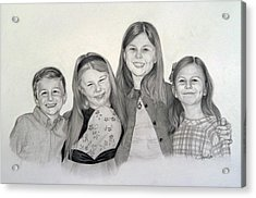 Acrylic Print featuring the drawing Cousins  by Lori Ippolito
