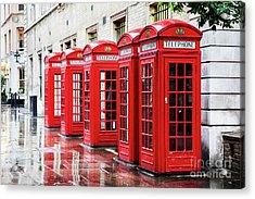 Covent Garden Phone Boxes Acrylic Print